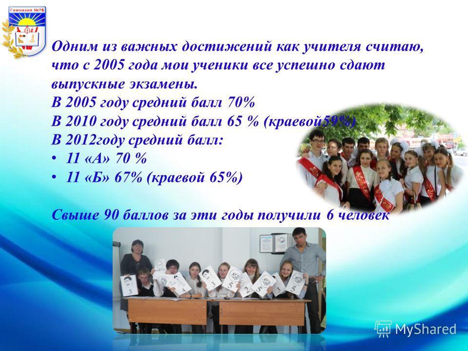 Библиотека Одним из важных достижений как учителя считаю, что с 2005 года мои ученики все успешно сдают выпускные экзамены. В 2005 году средний балл 70% В 2010 году средний балл 65 % (краевой59%) В 2012году средний балл: 11 «А» 70 % 11 «Б» 67% (краев