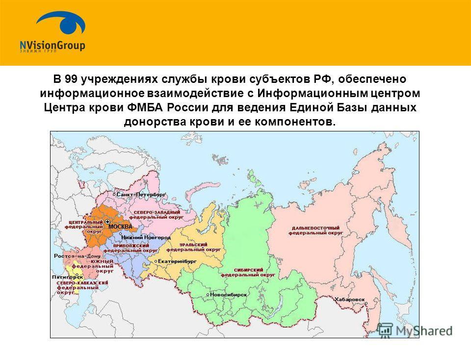 В 99 учреждениях службы крови субъектов РФ, обеспечено информационное взаимодействие с Информационным центром Центра крови ФМБА России для ведения Единой Базы данных донорства крови и ее компонентов.