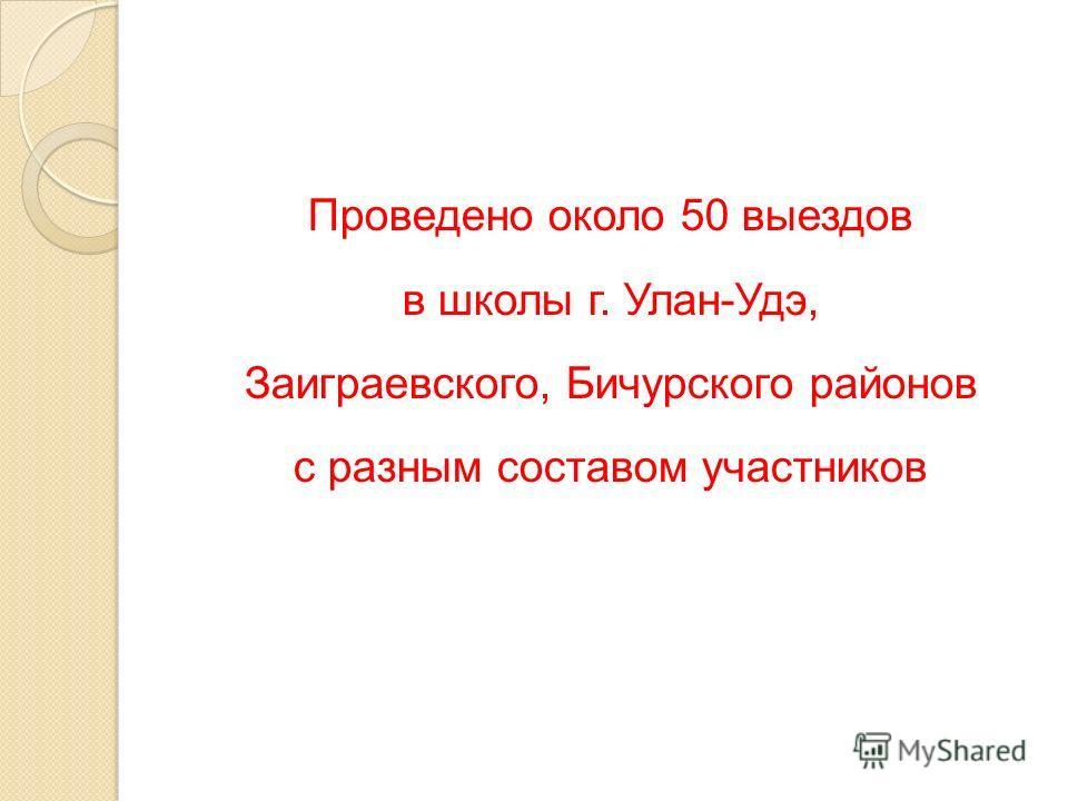 Проведено около 50 выездов в школы г. Улан-Удэ, Заиграевского, Бичурского районов с разным составом участников