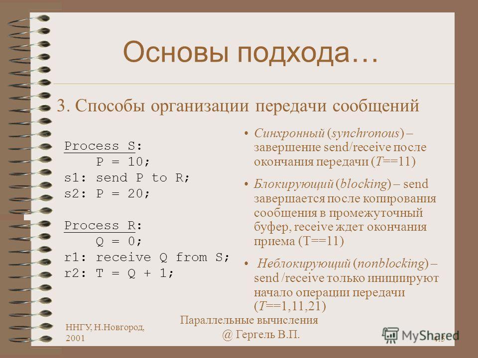 4.5 ННГУ, Н.Новгород, 2001 Параллельные вычисления @ Гергель В.П. Основы подхода… 3. Способы организации передачи сообщений Process S: P = 10; s1: send P to R; s2: P = 20; Process R: Q = 0; r1: receive Q from S; r2: T = Q + 1; Синхронный (synchronous