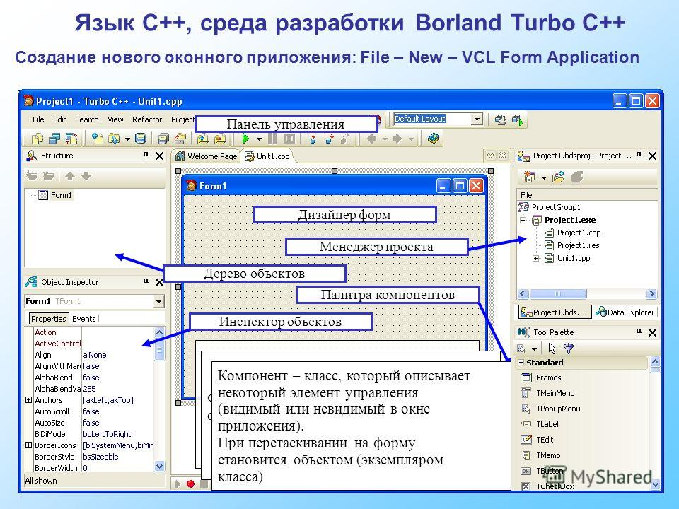 Язык C++, среда разработки Borland Turbo C++ Создание нового оконного приложения: File – New – VCL Form Application Дизайнер форм Палитра компонентов Инспектор объектов Дерево объектов Менеджер проекта Проект – набор файлов, необходимых для компиляци