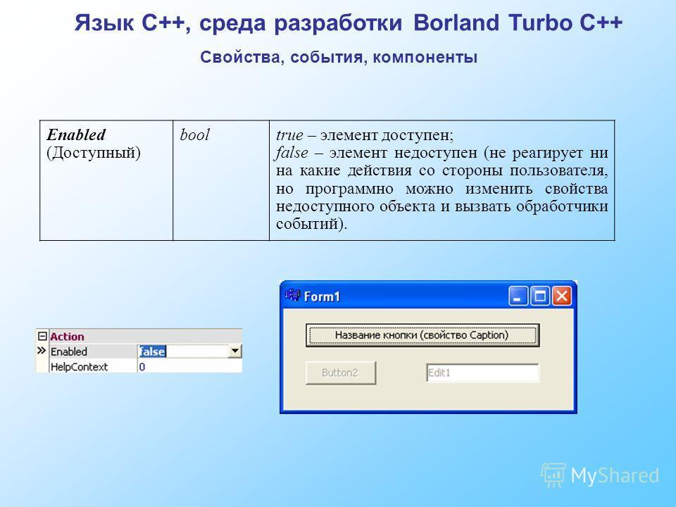 Язык C++, среда разработки Borland Turbo C++ Свойства, события, компоненты Enabled (Доступный) booltrue – элемент доступен; false – элемент недоступен (не реагирует ни на какие действия со стороны пользователя, но программно можно изменить свойства н