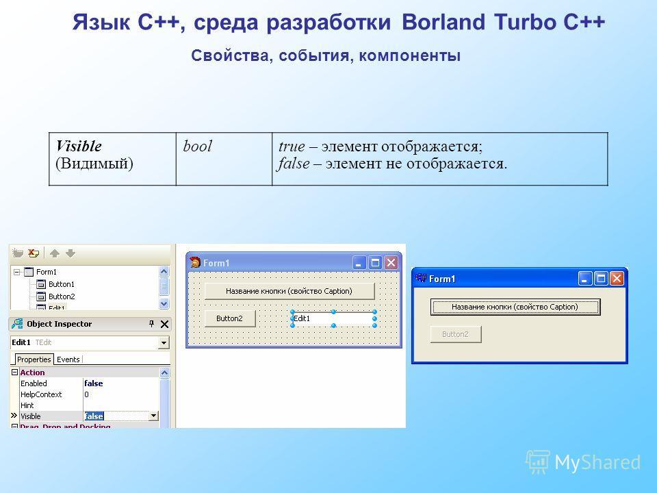 Visible (Видимый) booltrue – элемент отображается; false – элемент не отображается. Язык C++, среда разработки Borland Turbo C++ Свойства, события, компоненты