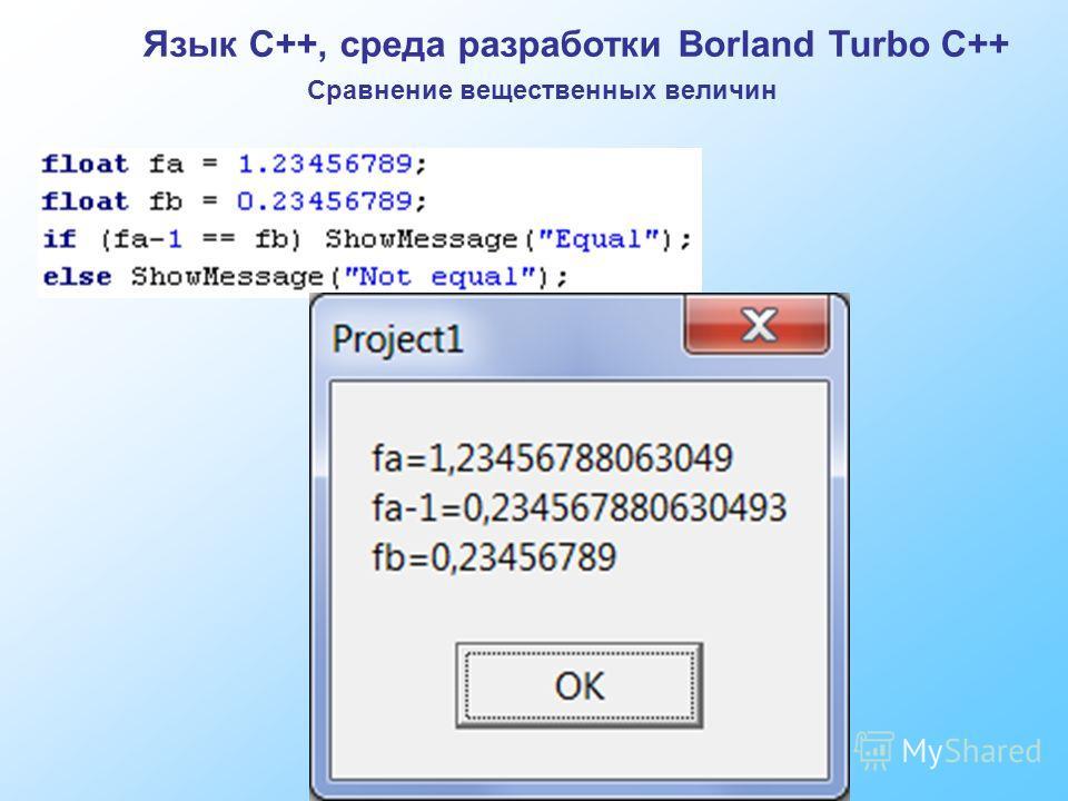 Язык C++, среда разработки Borland Turbo C++ Сравнение вещественных величин