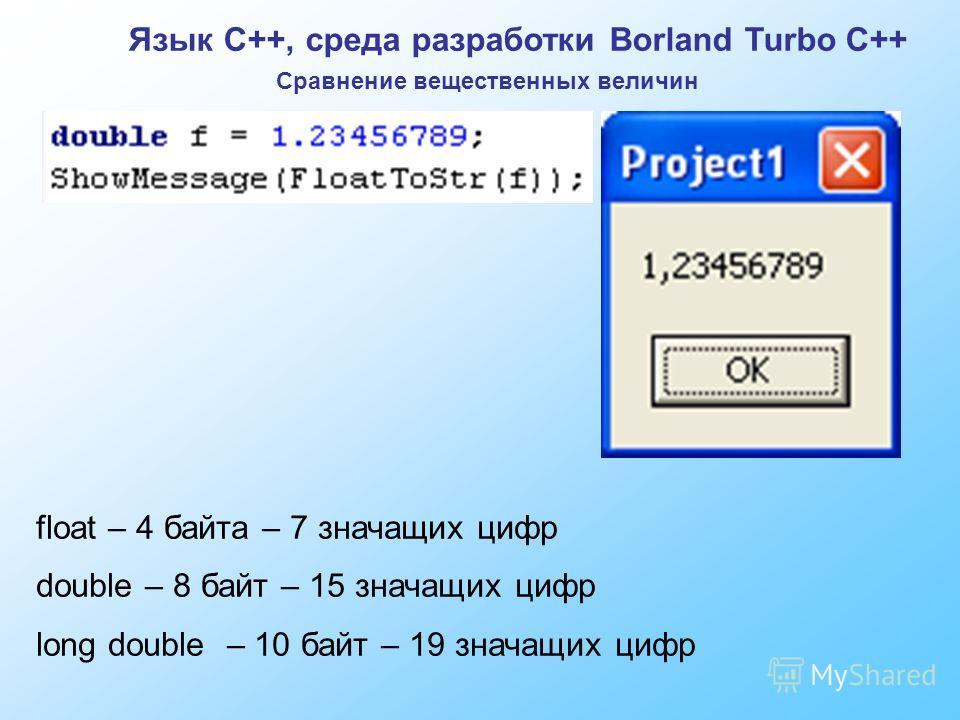 Язык C++, среда разработки Borland Turbo C++ Сравнение вещественных величин float – 4 байта – 7 значащих цифр double – 8 байт – 15 значащих цифр long double – 10 байт – 19 значащих цифр