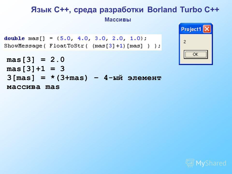 Язык C++, среда разработки Borland Turbo C++ Массивы mas[3] = 2.0 mas[3]+1 = 3 3[mas] = *(3+mas) – 4-ый элемент массива mas