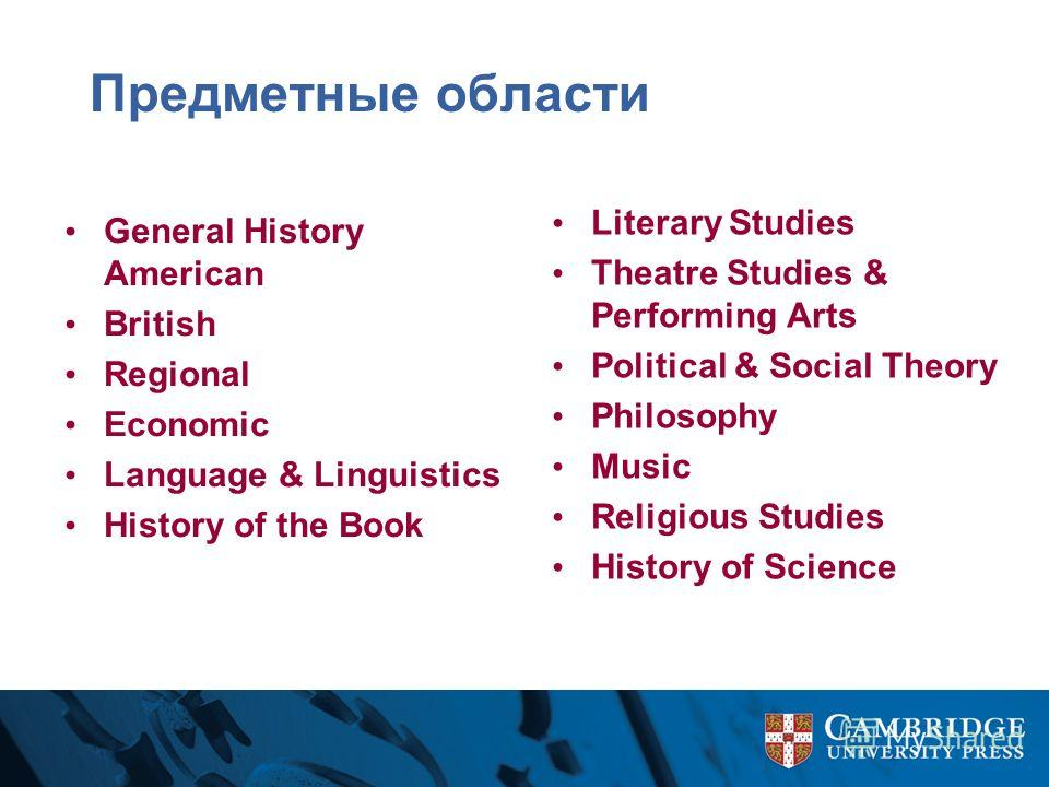 Предметные области General History American British Regional Economic Language & Linguistics History of the Book Literary Studies Theatre Studies & Performing Arts Political & Social Theory Philosophy Music Religious Studies History of Science