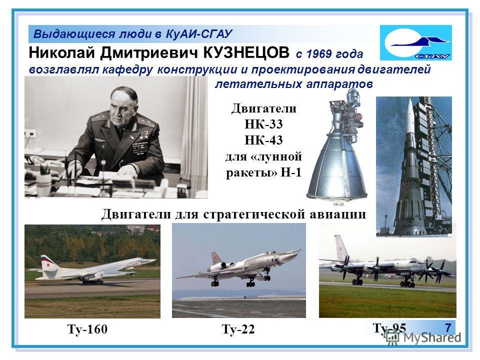 Выдающиеся люди в КуАИ-СГАУ 7 Ту-160Ту-22 Ту-95 Николай Дмитриевич КУЗНЕЦОВ с 1969 года возглавлял кафедру конструкции и проектирования двигателей летательных аппаратов Двигатели для стратегической авиации Двигатели НК-33 НК-43 для «лунной ракеты» Н-