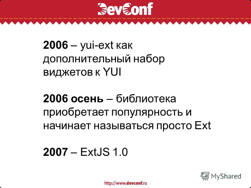 2006 – yui-ext как дополнительный набор виджетов к YUI 2006 осень – библиотека приобретает популярность и начинает называться просто Ext 2007 – ExtJS 1.0
