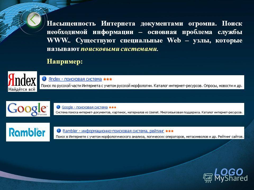 LOGO Насыщенность Интернета документами огромна. Поиск необходимой информации – основная проблема службы WWW.. Существуют специальные Web – узлы, которые называют поисковыми системами. Например: