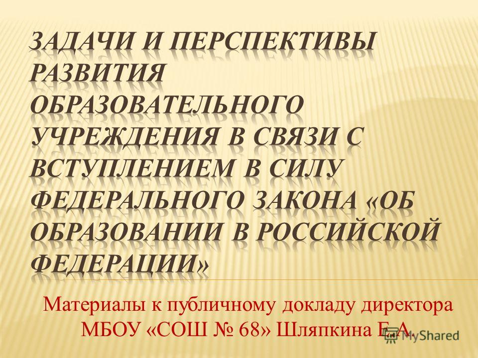 Материалы к публичному докладу директора МБОУ «СОШ 68» Шляпкина Е.А.
