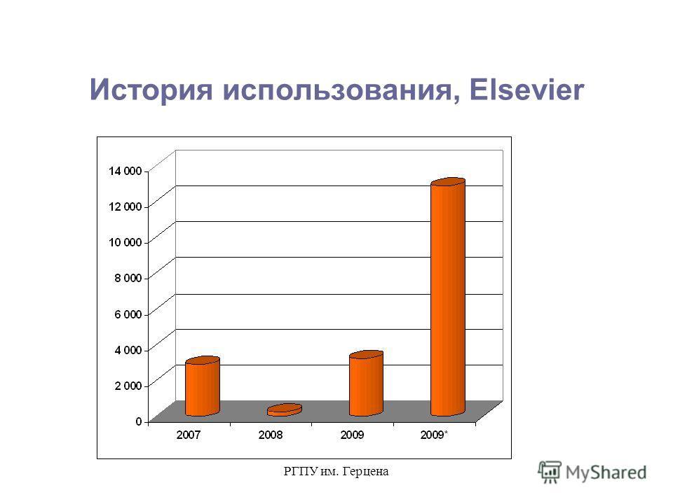 РГПУ им. Герцена История использования, Elsevier