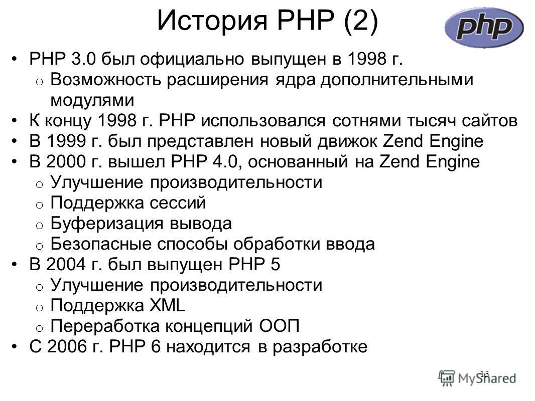 История PHP (2) PHP 3.0 был официально выпущен в 1998 г. o Возможность расширения ядра дополнительными модулями К концу 1998 г. PHP использовался сотнями тысяч сайтов В 1999 г. был представлен новый движок Zend Engine В 2000 г. вышел PHP 4.0, основан
