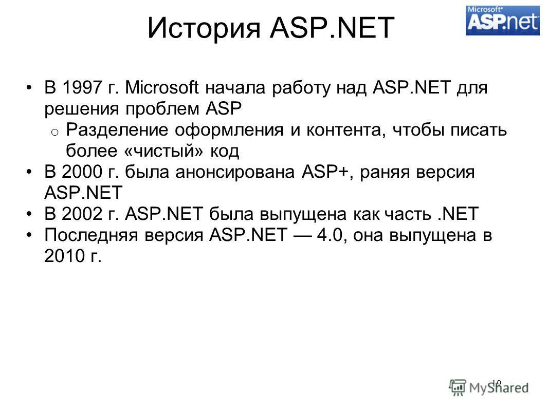 История ASP.NET В 1997 г. Microsoft начала работу над ASP.NET для решения проблем ASP o Разделение оформления и контента, чтобы писать более «чистый» код В 2000 г. была анонсирована ASP+, раняя версия ASP.NET В 2002 г. ASP.NET была выпущена как часть