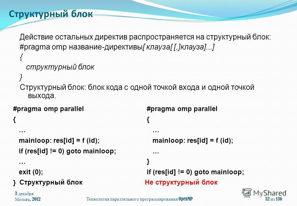 3 декабря Москва, 2012 Технология параллельного программирования OpenMP 32 из 136 Действие остальных директив распространяется на структурный блок: #pragma omp название-директивы[ клауза[ [,]клауза]...] { структурный блок } Структурный блок: блок код