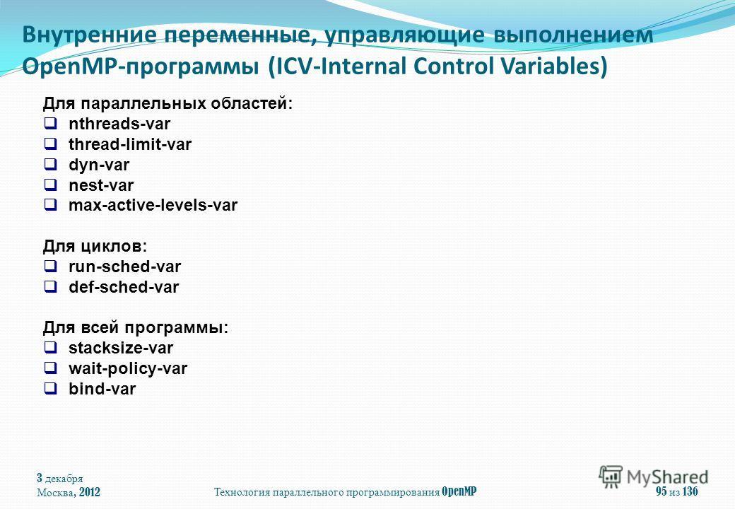 3 декабря Москва, 2012 Технология параллельного программирования OpenMP 95 из 136 Внутренние переменные, управляющие выполнением OpenMP-программы (ICV-Internal Control Variables) Для параллельных областей: nthreads-var thread-limit-var dyn-var nest-v