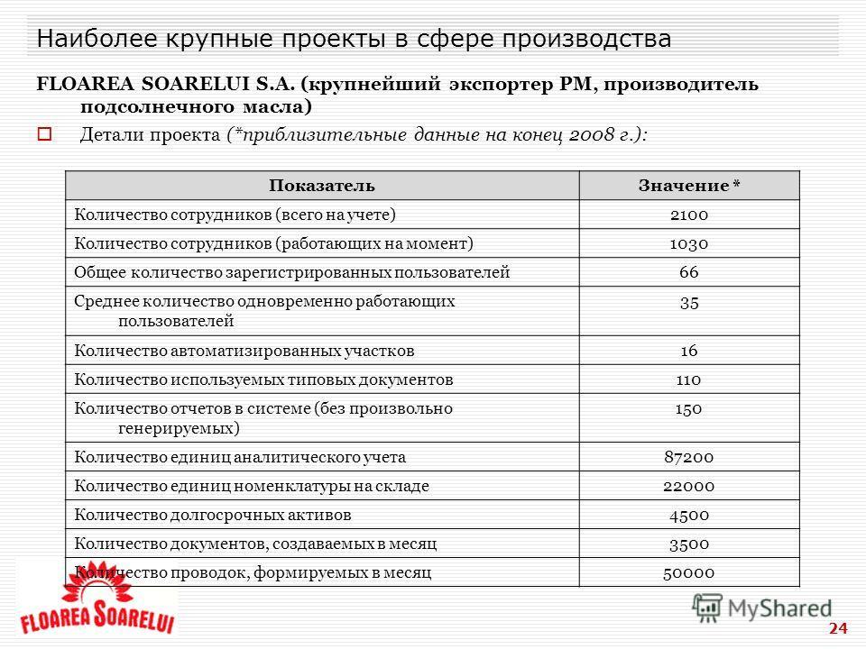 24 Наиболее крупные проекты в сфере производства FLOAREA SOARELUI S.A. (крупнейший экспортер РМ, производитель подсолнечного масла) Детали проекта (*приблизительные данные на конец 2008 г.): ПоказательЗначение * Количество сотрудников (всего на учете