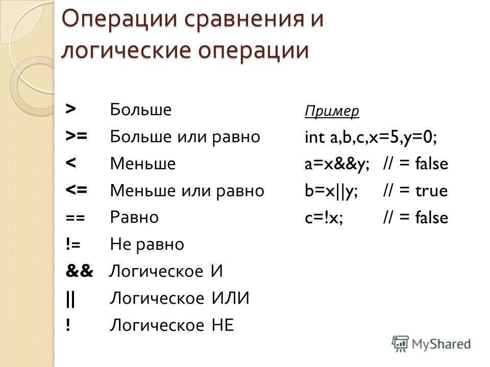 Операции сравнения и логические операции > Больше >= Больше или равно < Меньше