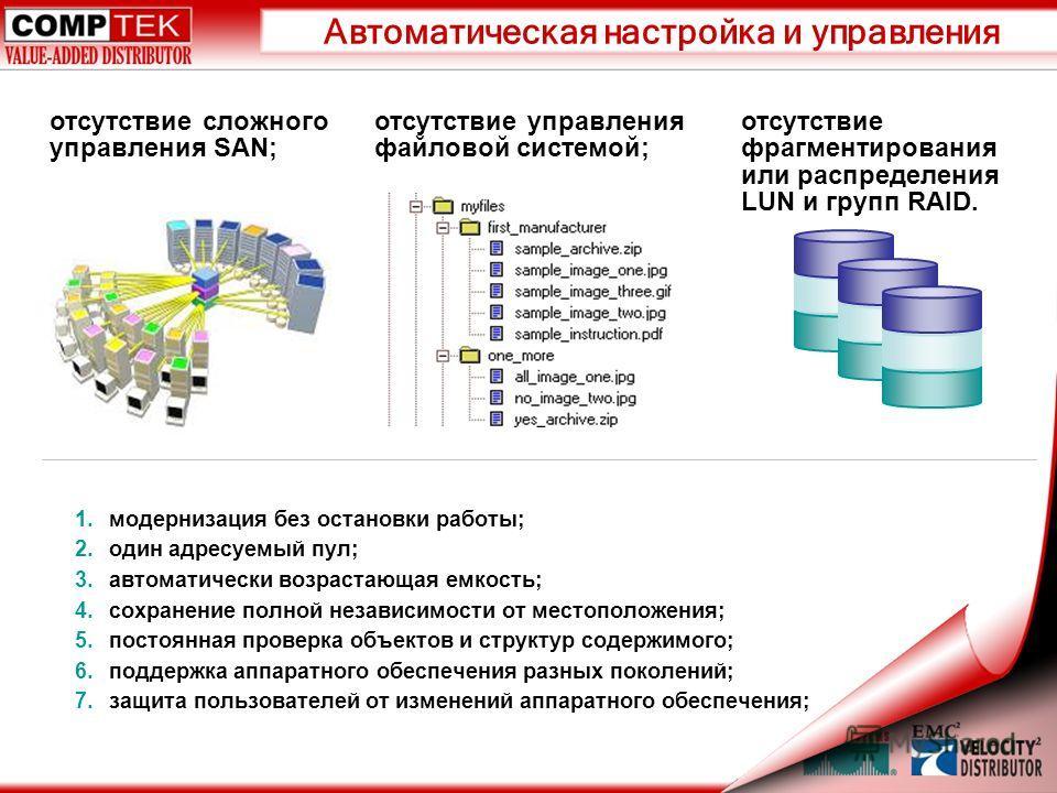 Автоматическая настройка и управления отсутствие сложного управления SAN; отсутствие управления файловой системой; 1.модернизация без остановки работы; 2.один адресуемый пул; 3.автоматически возрастающая емкость; 4.сохранение полной независимости от