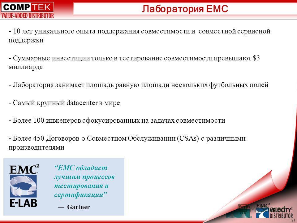 Лаборатория EMC EMC обладает лучшим процессов тестирования и сертификации Gartner 21 - 10 лет уникального опыта поддержания совместимости и совместной сервисной поддержки - Суммарные инвестиции только в тестирование совместимости превышают $3 миллиар