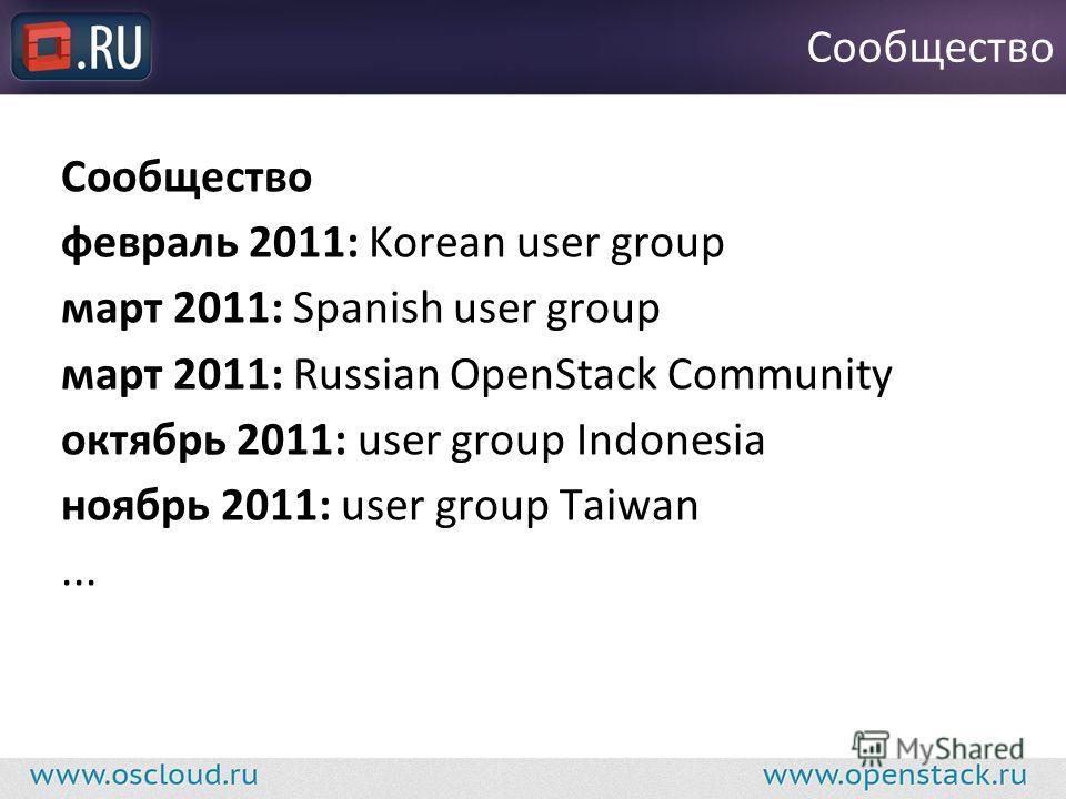 февраль 2011: Korean user group март 2011: Spanish user group март 2011: Russian OpenStack Community октябрь 2011: user group Indonesia ноябрь 2011: user group Taiwan... Сообщество