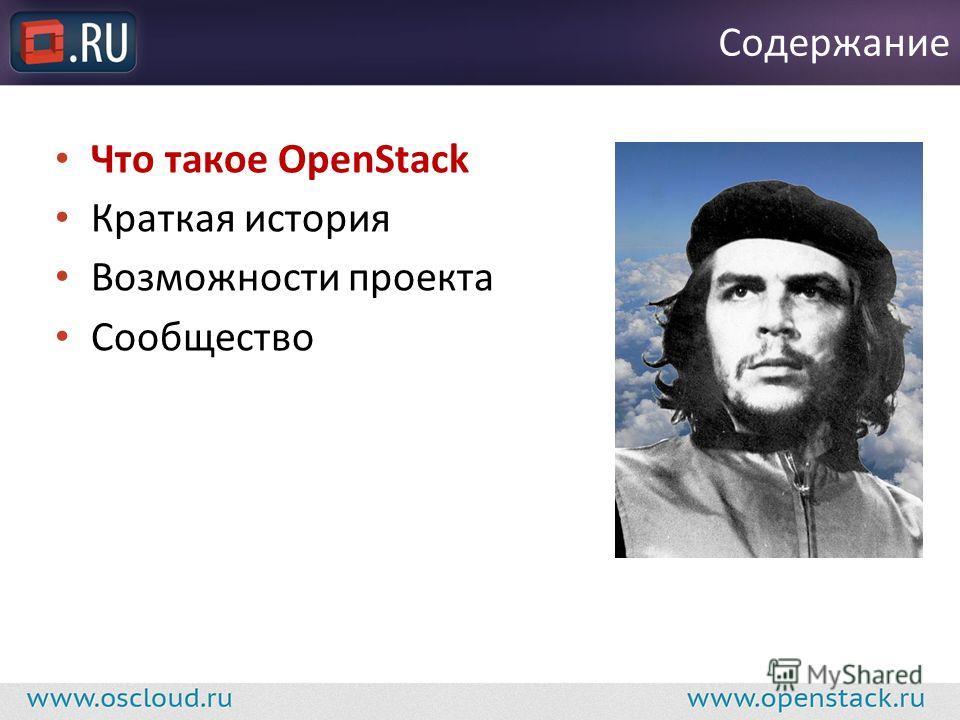 Что такое OpenStack Краткая история Возможности проекта Сообщество Содержание
