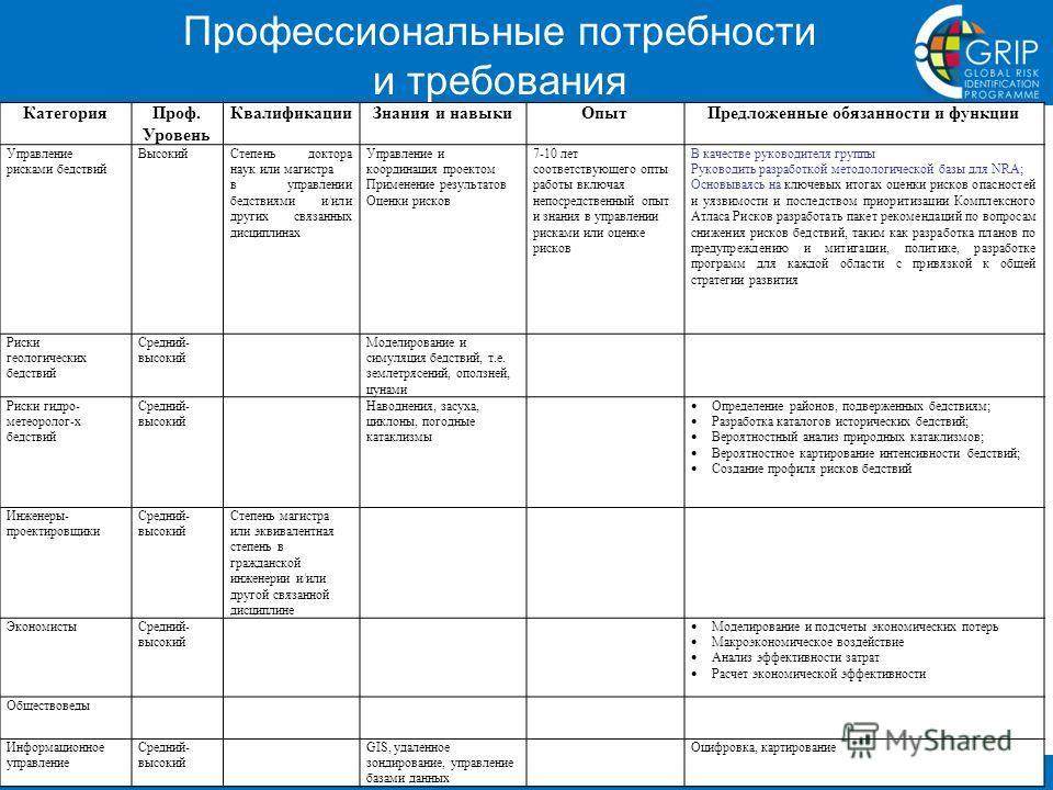 Global Risk Identification Programme (GRIP), UNDP, info@gripweb.org, http://www.gripweb.org Профессиональные потребности и требования КатегорияПроф. Уровень КвалификацииЗнания и навыкиОпытПредложенные обязанности и функции Управление рисками бедствий