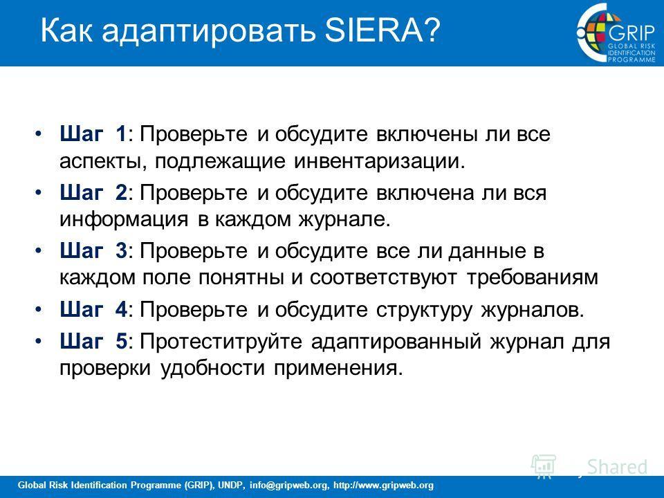 Global Risk Identification Programme (GRIP), UNDP, info@gripweb.org, http://www.gripweb.org Как адаптировать SIERA? Шаг 1: Проверьте и обсудите включены ли все аспекты, подлежащие инвентаризации. Шаг 2: Проверьте и обсудите включена ли вся информация
