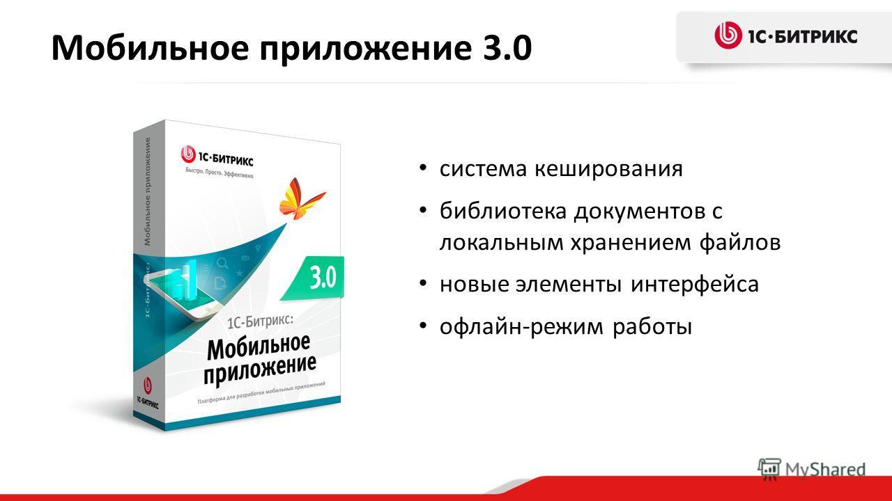 Мобильное приложение 3.0 система кеширования библиотека документов с локальным хранением файлов новые элементы интерфейса офлайн-режим работы