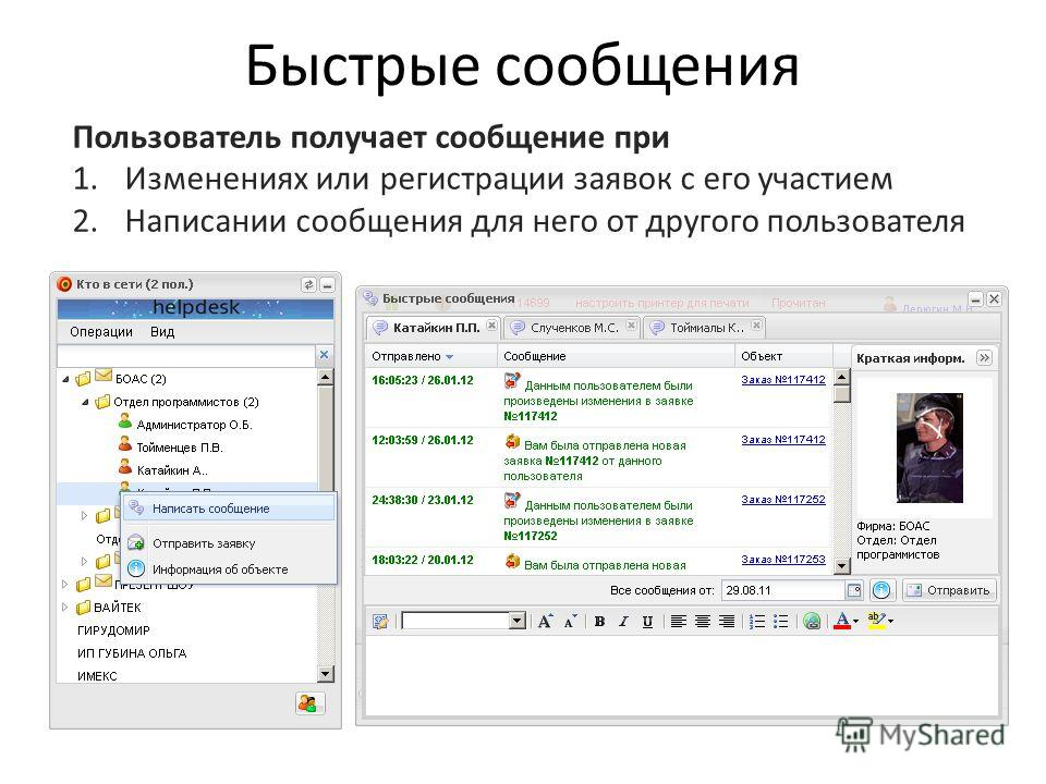 Быстрые сообщения Пользователь получает сообщение при 1.Изменениях или регистрации заявок с его участием 2.Написании сообщения для него от другого пользователя