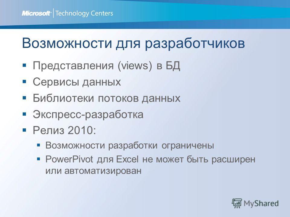 Возможности для разработчиков Представления (views) в БД Сервисы данных Библиотеки потоков данных Экспресс-разработка Релиз 2010: Возможности разработки ограничены PowerPivot для Excel не может быть расширен или автоматизирован