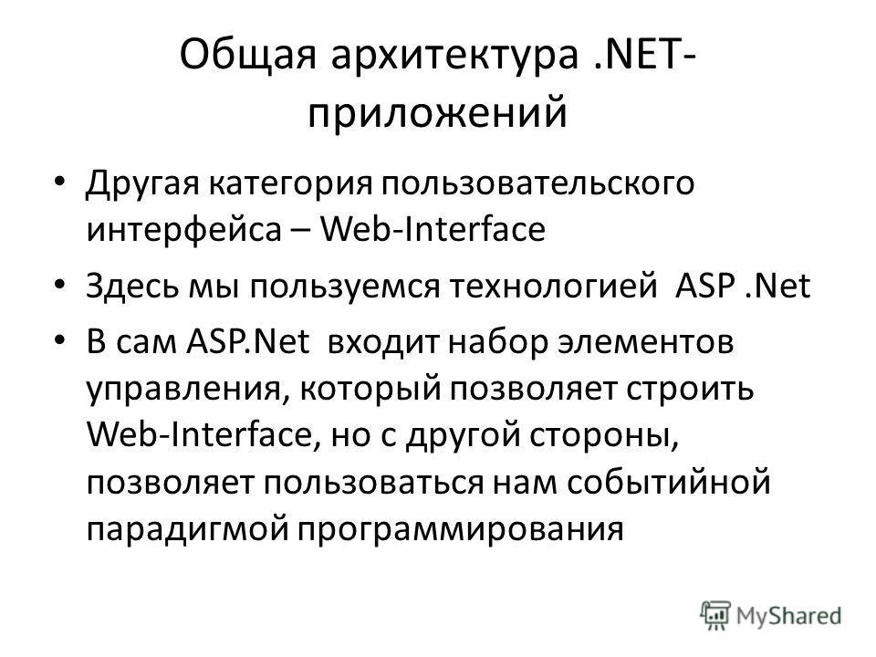 Общая архитектура.NET- приложений Другая категория пользовательского интерфейса – Web-Interface Здесь мы пользуемся технологией ASP.Net В сам ASP.Net входит набор элементов управления, который позволяет строить Web-Interface, но с другой стороны, поз