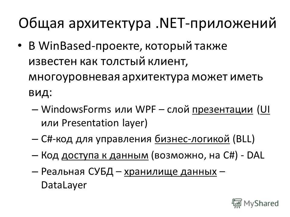 Общая архитектура.NET-приложений В WinBased-проекте, который также известен как толстый клиент, многоуровневая архитектура может иметь вид: – WindowsForms или WPF – слой презентации (UI или Presentation layer) – C#-код для управления бизнес-логикой (