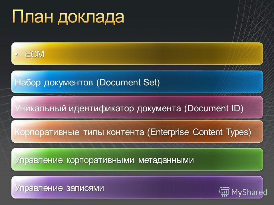 ECMECM Набор документов (Document Set) Уникальный идентификатор документа (Document ID) Управление корпоративными метаданными Enterprise Content Types) Корпоративные типы контента (Enterprise Content Types) Управление записями