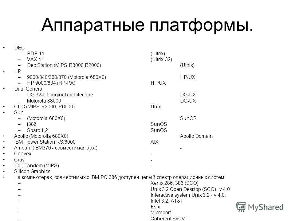 Аппаратные платформы. DEC –PDP-11(Ultrix) –VAX-11(Ultrix-32) –Dec Station (MIPS R3000,R2000)(Ultrix) HP –9000/340/360/370 (Motorola 680X0)HP/UX –HP 9000/834 (HP-PA) HP/UX Data General –DG 32-bit original architectureDG-UX –Motorola 88000 DG-UX CDC (M