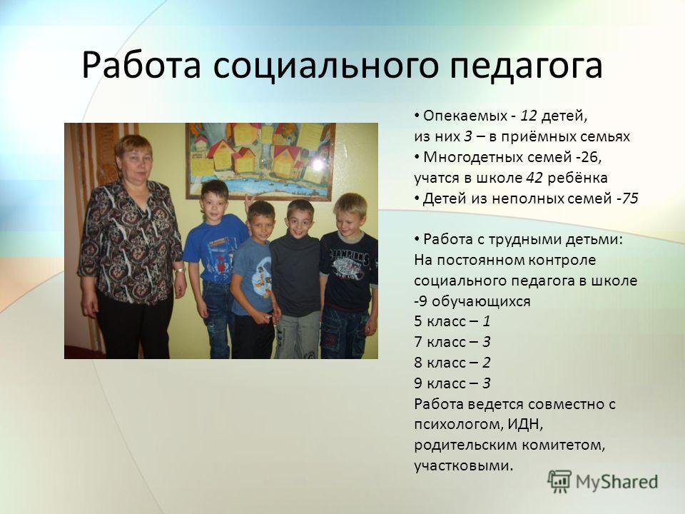 Работа социального педагога Опекаемых - 12 детей, из них 3 – в приёмных семьях Многодетных семей -26, учатся в школе 42 ребёнка Детей из неполных семей -75 Работа с трудными детьми: На постоянном контроле социального педагога в школе -9 обучающихся 5