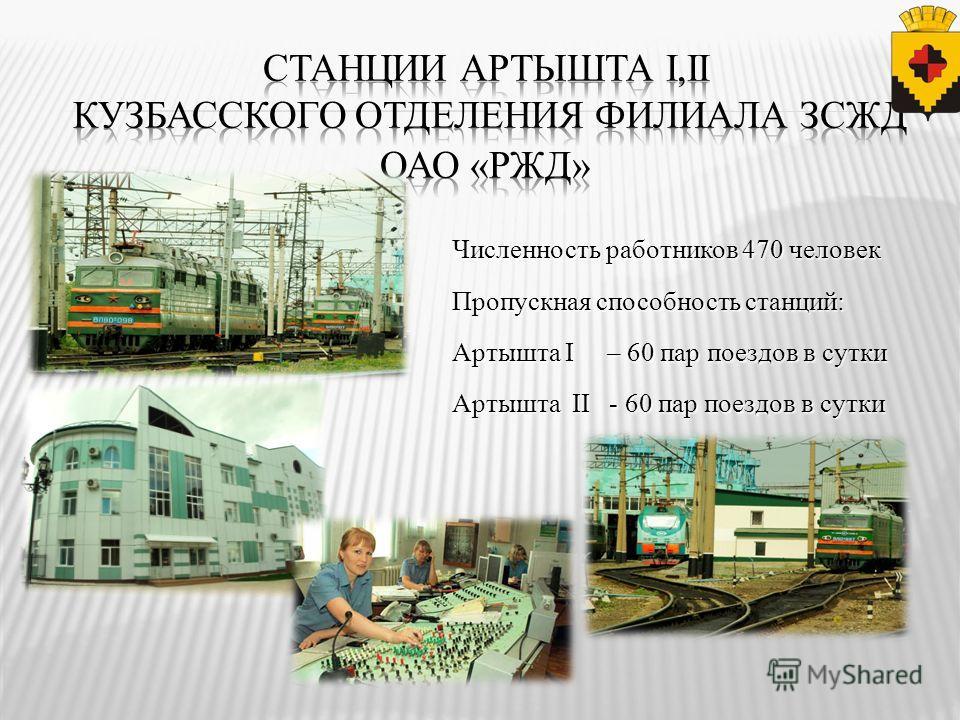 Численность работников 470 человек Пропускная способность станций: Артышта I – 60 пар поездов в сутки Артышта II - 60 пар поездов в сутки