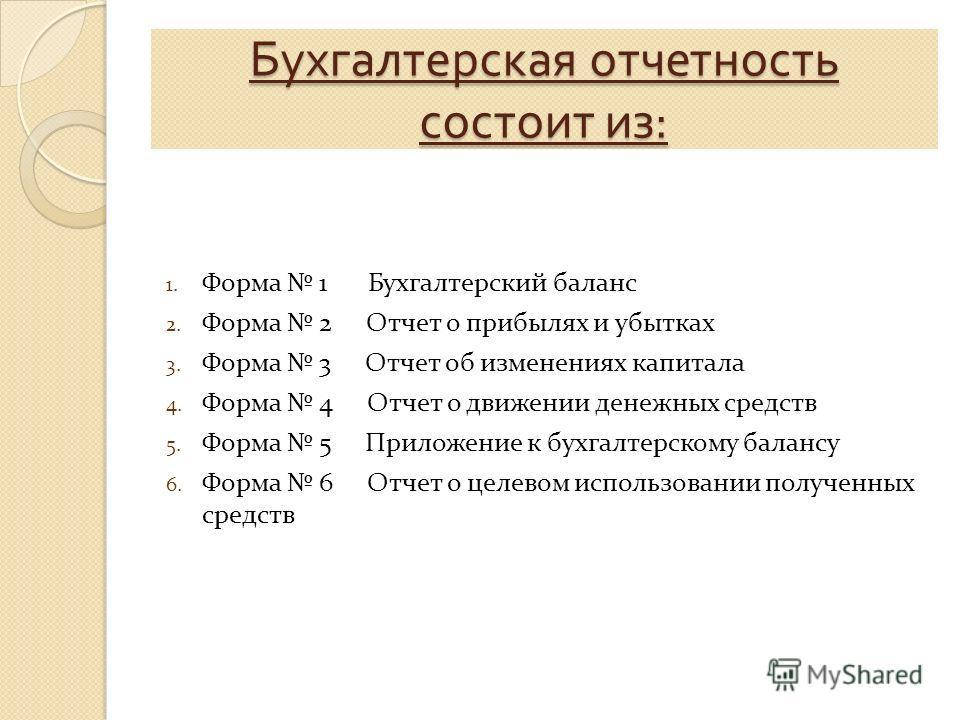 Бухгалтерская отчетность состоит из : 1. Форма 1 Бухгалтерский баланс 2. Форма 2 Отчет о прибылях и убытках 3. Форма 3 Отчет об изменениях капитала 4. Форма 4 Отчет о движении денежных средств 5. Форма 5 Приложение к бухгалтерскому балансу 6. Форма 6