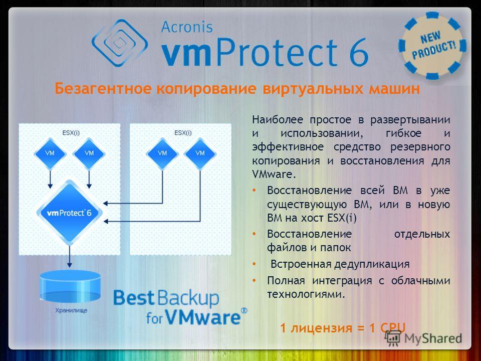 Безагентное копирование виртуальных машин Наиболее простое в развертывании и использовании, гибкое и эффективное средство резервного копирования и восстановления для VMware. Восстановление всей ВМ в уже существующую ВМ, или в новую ВМ на хост ESX(i)