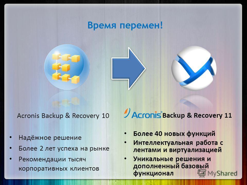 Acronis Backup & Recovery 10 Надёжное решение Более 2 лет успеха на рынке Рекомендации тысяч корпоративных клиентов Backup & Recovery 11 Более 40 новых функций Интеллектуальная работа с лентами и виртуализацией Уникальные решения и дополненный базовы