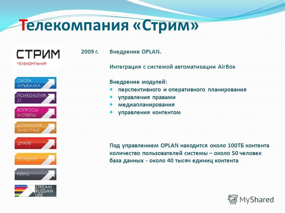 Телекомпания «Стрим» 2009 г.Внедрение OPLAN. Интеграция с системой автоматизации AirBox Внедрение модулей: перспективного и оперативного планирования управления правами медиапланирования управления контентом Под управлением OPLAN находится около 100Т