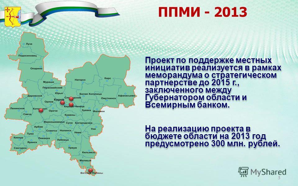 ППМИ - 2013 Проект по поддержке местных инициатив реализуется в рамках меморандума о стратегическом партнерстве до 2015 г., заключенного между Губернатором области и Всемирным банком. На реализацию проекта в бюджете области на 2013 год предусмотрено