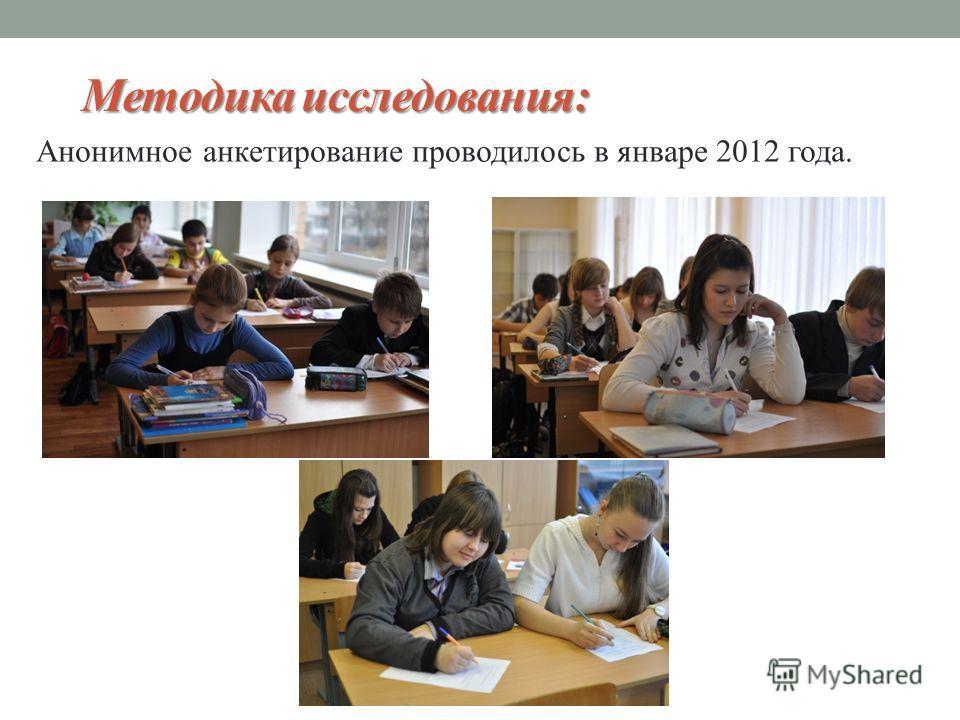 Методика исследования: Анонимное анкетирование проводилось в январе 2012 года.