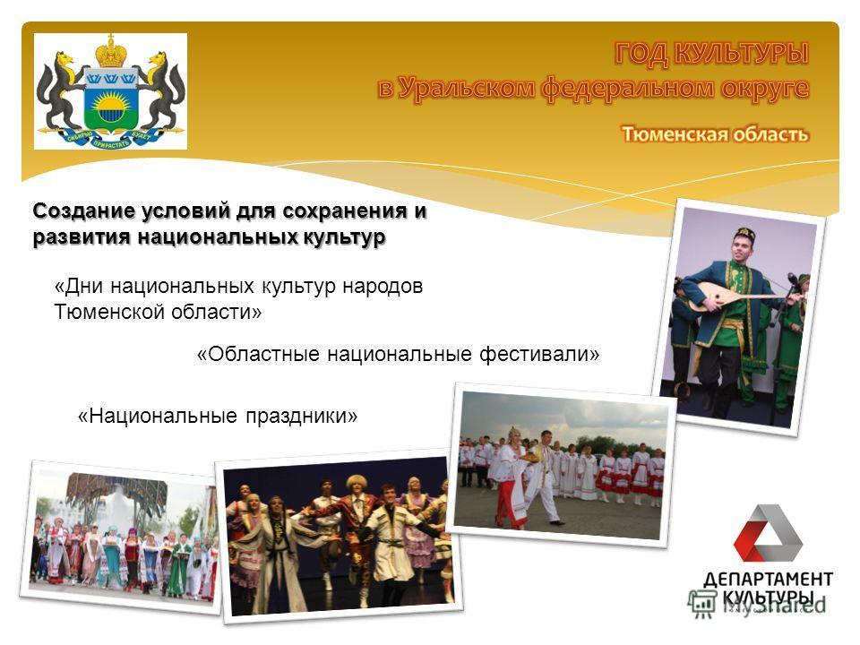 Создание условий для сохранения и развития национальных культур «Дни национальных культур народов Тюменской области» «Областные национальные фестивали» «Национальные праздники»