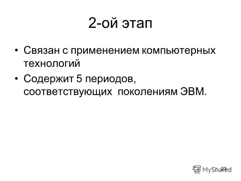 2-ой этап Связан с применением компьютерных технологий Содержит 5 периодов, соответствующих поколениям ЭВМ. 23