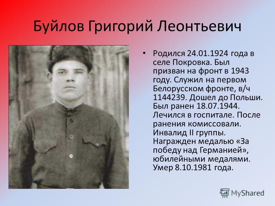 Буйлов Григорий Леонтьевич Родился 24.01.1924 года в селе Покровка. Был призван на фронт в 1943 году. Служил на первом Белорусском фронте, в/ч 1144239. Дошел до Польши. Был ранен 18.07.1944. Лечился в госпитале. После ранения комиссовали. Инвалид II