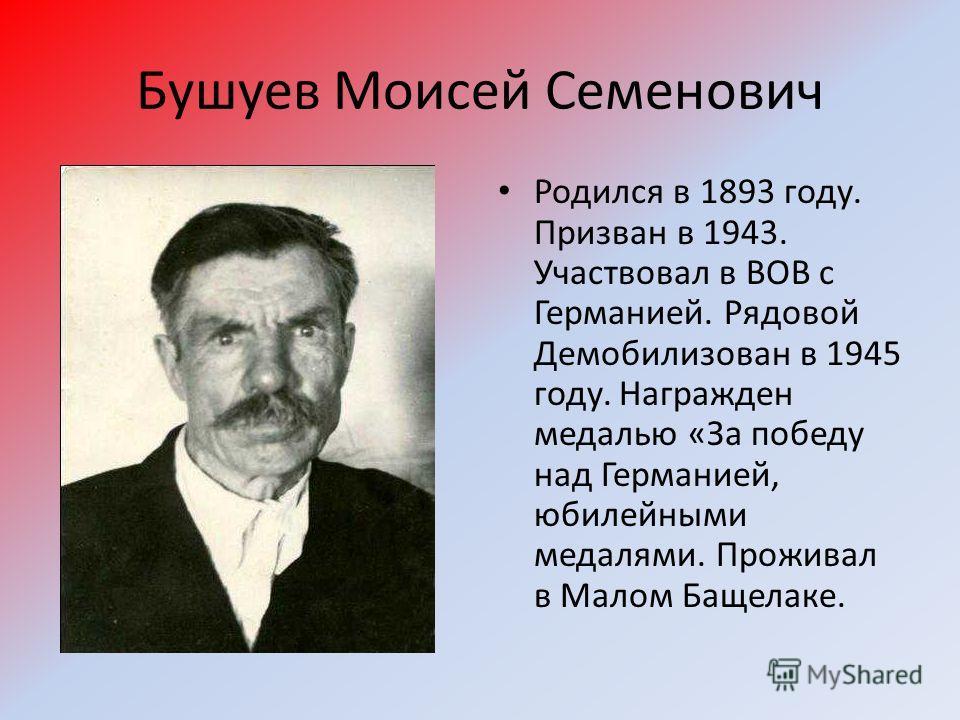 Бушуев Моисей Семенович Родился в 1893 году. Призван в 1943. Участвовал в ВОВ с Германией. Рядовой Демобилизован в 1945 году. Награжден медалью «За победу над Германией, юбилейными медалями. Проживал в Малом Бащелаке.