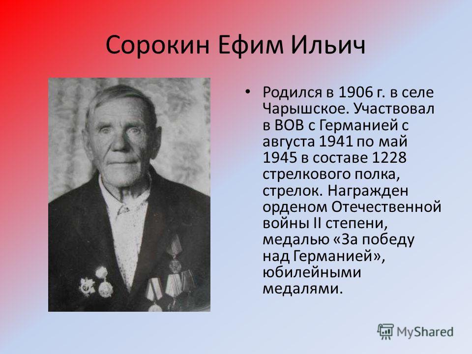 Сорокин Ефим Ильич Родился в 1906 г. в селе Чарышское. Участвовал в ВОВ с Германией с августа 1941 по май 1945 в составе 1228 стрелкового полка, стрелок. Награжден орденом Отечественной войны II степени, медалью «За победу над Германией», юбилейными