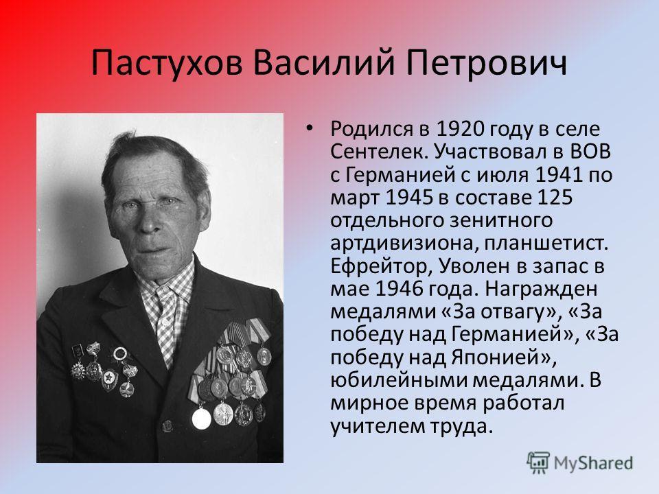 Пастухов Василий Петрович Родился в 1920 году в селе Сентелек. Участвовал в ВОВ с Германией с июля 1941 по март 1945 в составе 125 отдельного зенитного артдивизиона, планшетист. Ефрейтор, Уволен в запас в мае 1946 года. Награжден медалями «За отвагу»