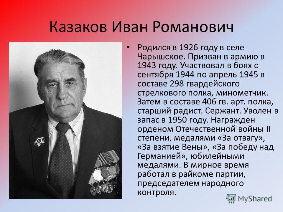 Казаков Иван Романович Родился в 1926 году в селе Чарышское. Призван в армию в 1943 году. Участвовал в боях с сентября 1944 по апрель 1945 в составе 298 гвардейского стрелкового полка, минометчик. Затем в составе 406 гв. арт. полка, старший радист. С